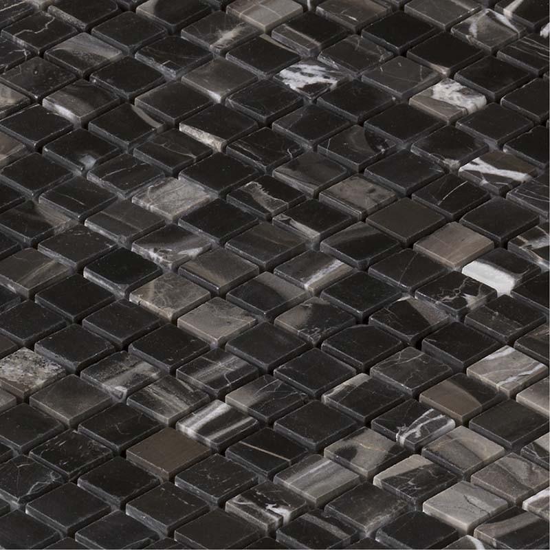 Mosa que marbre evans black noire indoor by capri for Salle de bain mosaique noir