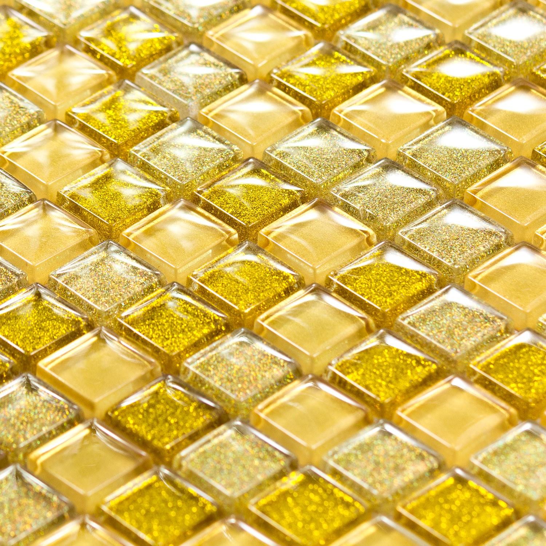 Mosaique Pate De Verre Luxe Gold Doree Paillette Indoor By Capri
