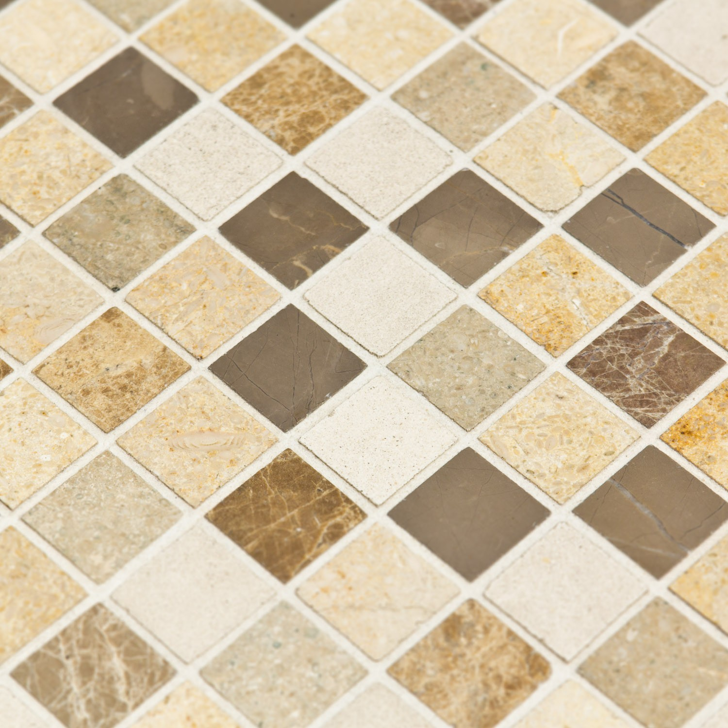 Mosa que marbre chiara blanche marron beige indoor by capri for Salle de bain mosaique