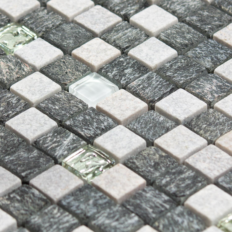 mosa que pierre et verre quartz grise et blanche indoor by capri. Black Bedroom Furniture Sets. Home Design Ideas