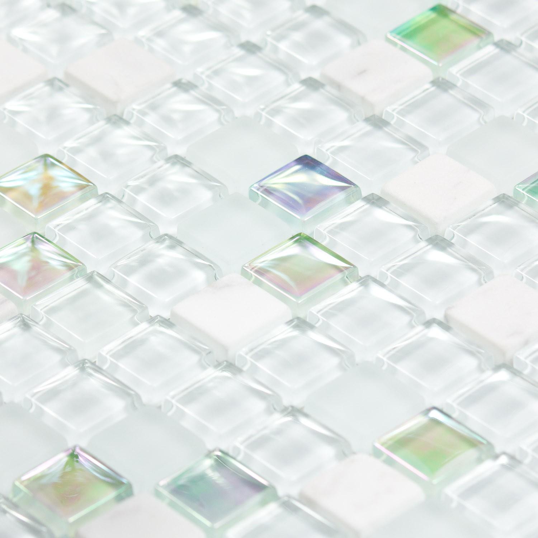 mosaïque pierre et verre blanche white pearl - indoorcapri