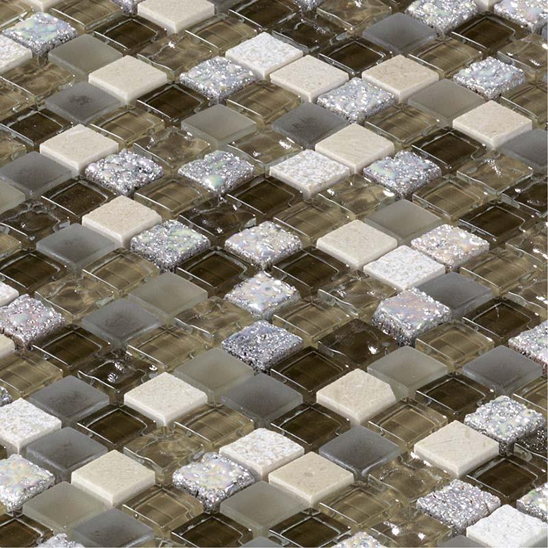 Mosa que marbre et verre glacier beige marron indoor by for Carrelage mosaique verre