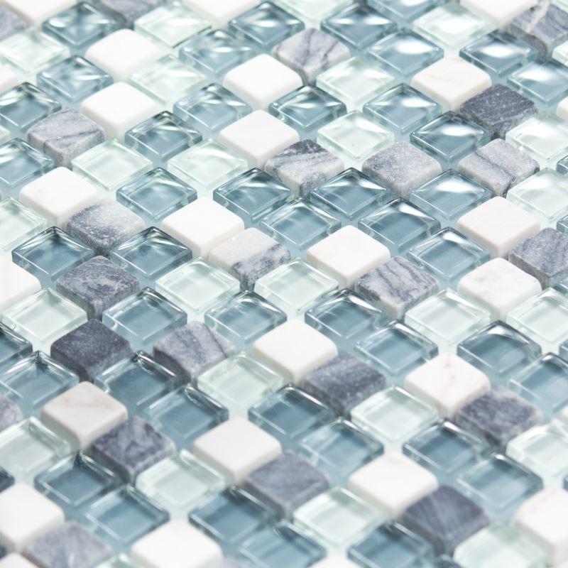 Mosaïque Marbre et verre Ocean Color blanche grise bleue - Indoor by ...